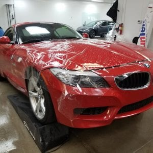 Clear Bra for red BMW AZ side
