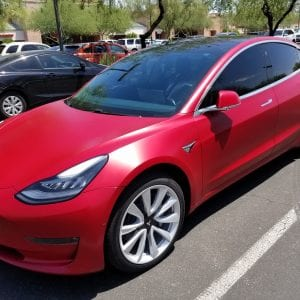 Red Tesla Clear Bra Arizona Window Tint Law